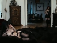 Raven haired lesbian babe wakes her girlfriend up for sex