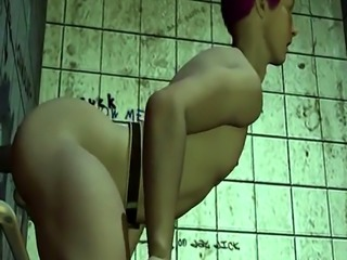 3D stud jerks off and gets fucked anally at a gloryhole
