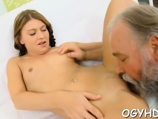 Fascinating young gal gets enjoys sex with old fucker