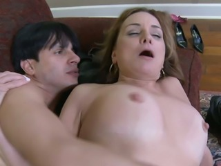 Dark haired spoiled mommy in sexy stockings Rebecca Bardoux gets her mature...