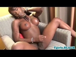 Bigtitted black tranny pulling her dick