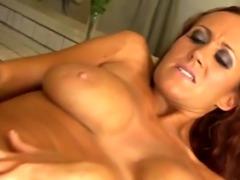 Busty redhead MILF masturbates with a dildo before stud fucks her puss