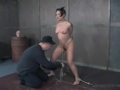 She has to spread her legs, so the master can tie her up in rope and make her...