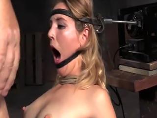 Sub slave gagging on masters fat cocks