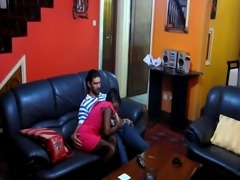 Busty African babe Sakira moans while getting pussy stretched by white
