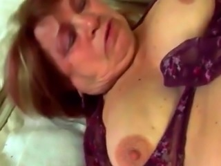Filthy granny Dominika plays with pussy and gets screwed by younger ma