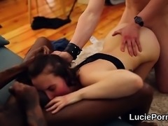 Trainee lesbo cuties get their tight pussies licked and plow