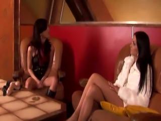 Hot lesbian orgy starring seductive sex bombs