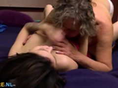 Titty brunette and a hairy granny licking out each other