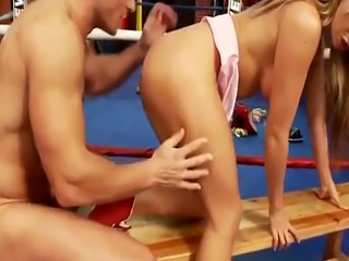 Coach fucks hot blonde in the boxing ring
