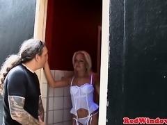 Dutch lingerie hooker doggystyled in window