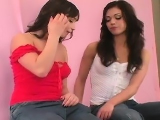 Horny sweeties drill the biggest strap-on dildos and spray l