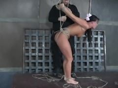 cute slave is bent in crazy positions and hogtied