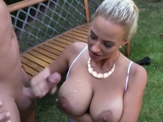 Busty whore urinated on