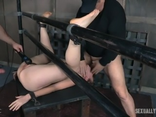 redhead is bound and fucked hard