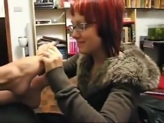 Nerdy Girl Sniffs and kisses Friend's Feet
