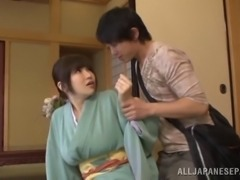 Ramming hard a busty Japanese MILF in a traditional dress