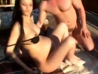Pregnant chick licked and gives head outdoors
