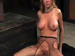 Tormented slave pissing in closeup action
