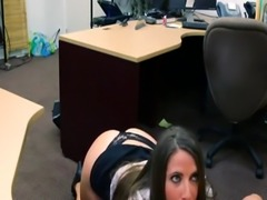 Office secretary brunette and double team tits PawnShop Confession!