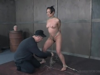 She has to spread her legs, so the master can tie her up in rope and make her feel a humiliating sense of degradation. The master is really mean and cruel, and the slave is only there so she can be bound tightly in rope.