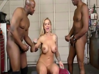 Busty blonde MILF needs a job so she must have DP action with two blac