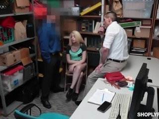 The cute blonde was caught in shoplifting and she had no option but to obey the commands of security personnel. He ordered her to suck cock and she tried her level best to take his whole length in mouth. After hardcore banging session, her partner in petty crime helped in cleaning the mess.