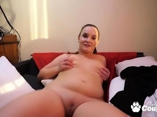 Chubby horny blonde masturbating on cam