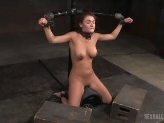 Hot slut Charlotte Cross is getting face fucked hard in the dungeon