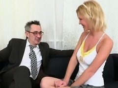 Innocent college girl is teased and drilled by her aged scho