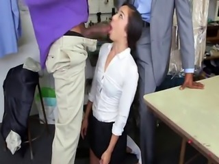 A rough double penetration sex action for a lusty Asian tailor