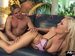 Busty blonde Jessica Moore great against this horny mans masculine