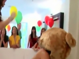 CFNM bridesmaids munching on stripper cock