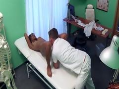 Busty ebony patient sucks doctors dick
