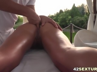 Blonde euro girl enjoys anal outdoors
