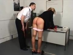 Officer punishing blonde girl