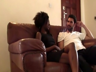 Real interracial couple bored watching TV decided to heat up homemade