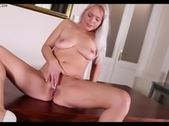 Blonde mature babe sexy solo play