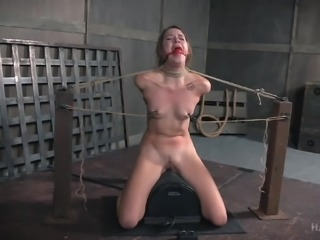 Hot brunette babe Zoey Laine, gets a taste of slavery, when she is made to kneel, legs spread apart, and tied with her arms stretched out behind her. Her mouth stuffed with a red ball gag, she moans in agonized pleasure, as her cruel master fastens nipple clamps on her small boobs.