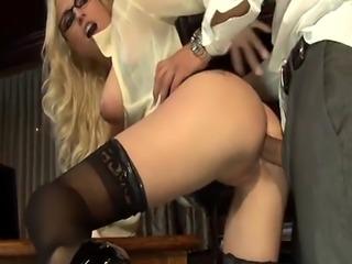 Amazing blonde secretary named Christie does anal