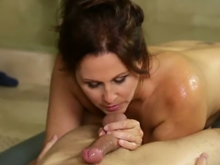 Delicious red haired mommy with yummy tits shows her great oral skills in...