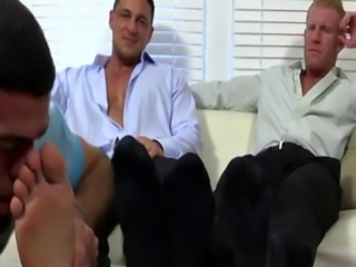 Hairy gay foot job porn video Ricky Worships Johnny & Joey's Feet