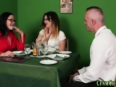 Femdom clothed brits suck