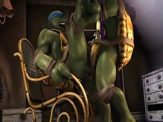 3D cartoon ninja turtle sucks cock and gets fucked