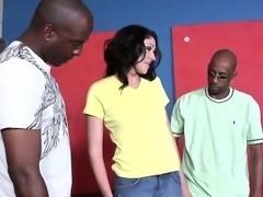 Raunchy Katie pleasures numerous big black boners