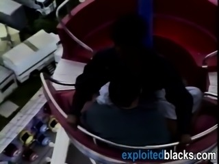 African slut gets her holes filled with cock on the cableway