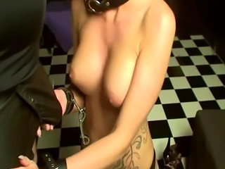 Kinky dungeon session with a slutty blonde