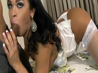 Stunning shemale gets her ass banged by hard man meat