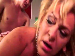 Cocksucking grandma banged by young guy