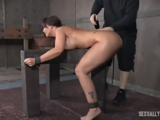 She has no choice but to please the master's hard cock, because she is bound and tied up. The master is in charge and she must do everything he says, to get him off, and make him cum hard in her pretty mouth.